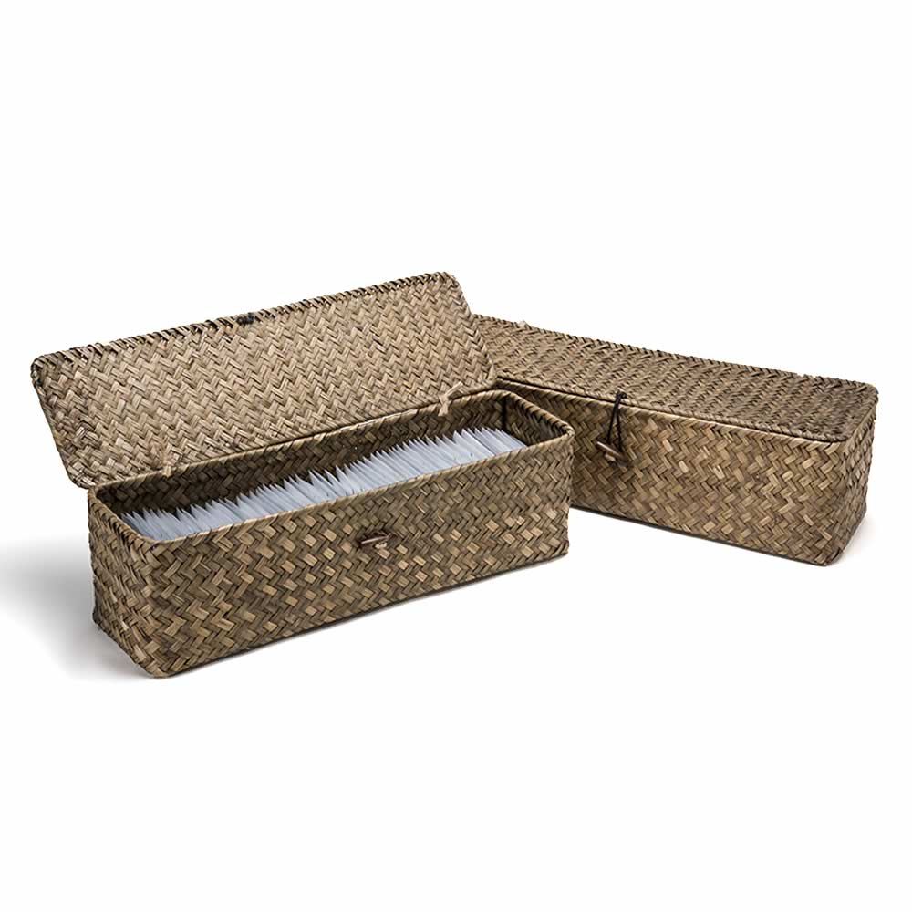 Powder Room Basket with Lid Natural – Gray